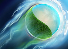 Grass water and beach mini globe travel in space Stock Images