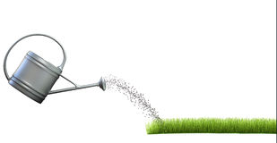 Grass and watering can Royalty Free Stock Images
