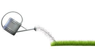 Grass and watering can Stock Images
