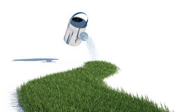 Grass and watering can Stock Photography