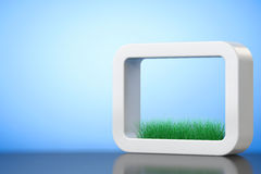 Grass in White Ceramics Planter. 3d Rendering. Grass in White Ceramics Planter on a blue background. 3d Rendering Royalty Free Stock Photos