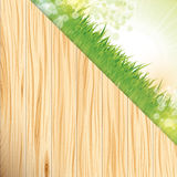 Grass and wood background Royalty Free Stock Images
