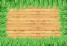 Grass, wood frame with the background Royalty Free Stock Photo
