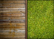 Grass and wood Stock Images