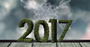 2017 in grass on wooden plank against a composite image 3D of digitally generated background. 2017 in grass on wooden plank against a composite image 3D of Royalty Free Stock Image
