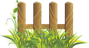 Grass and wooden protection. Spring composition Stock Image