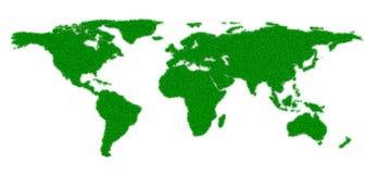 Grass World Map Shape Stock Photos
