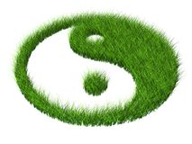 Grass yang. Green grass yang symbol religion Stock Photos