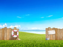 Grass Yard Buoy Fence Sea Ocean Sky Shell Field Concept Stock Images