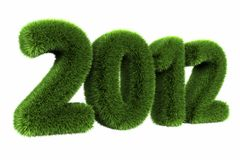 Grass Year 2012. Large grassy number. 3d render Royalty Free Stock Photos