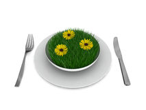 Grass and yellow flowers in a plate, with fork and knife Stock Photos