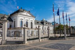 The Grassalkovich Palace with National flags royalty free stock images