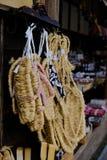 Grasschoenen, ouchi-Juku, Tohoku-gebied, Japan royalty-vrije stock foto's