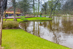 Grassfield in the park at Keukenhof royalty free stock photography