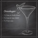 Grasshopper alcoholic cocktail on black board. Consisting of Cocoa liqueur, mint liqueur, cream, ice cubes vector illustration
