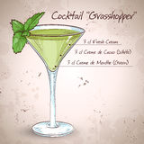 Grasshopper alcoholic cocktail. Consisting of Cocoa liqueur, mint liqueur, cream, ice cubes vector illustration