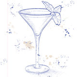 Grasshopper alcoholic cocktail on a notebook page Stock Photo