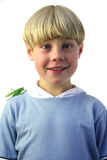 Grasshopper boy. Young boy with grasshopper on his shoulder royalty free stock photography