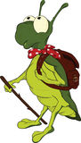 Grasshopper .Cartoon. Green grasshopper, the tourist with a backpack Stock Image