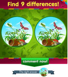 Grasshopper 9 differences. Visual game for children and adults. Task to find 9 differences in the summer illustration  with  forest insects Royalty Free Stock Photos