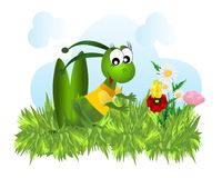 Grasshopper hunting butterfly, cdr vector royalty free stock image