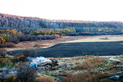 Grassland autumn scenery in China. The hulunbuir landscape in China ,Inner Mongolia Royalty Free Stock Photo