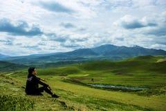 Grassland, Highland, Sky, Mountainous Landforms royalty free stock photo