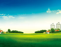 Grassland with house Stock Image