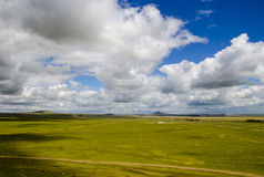 Grassland in Inner Mongolia. Beautiful and great meadow in Inner Mongolia, with white cloud in the sky and shadow on the land Royalty Free Stock Photography