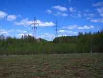 Grassland, Overhead Power Line, Sky, Ecosystem Royalty Free Stock Image