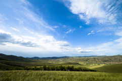 Grassland scenery. China grassland beautiful scenery blue sky and white clouds Royalty Free Stock Photo