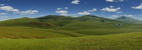 Grassland in the steppe of Mongolia. View of grassland in the steppe of Mongolia stock photo