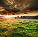 Grassland on sunset. Grassland in mountains Stock Photos