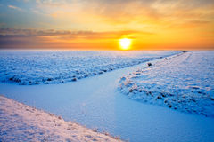 Grassland in winter at sunset Royalty Free Stock Images