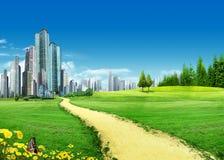 Grassland With City