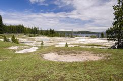 Grasslands, lakes and rivers in Yellowstone National Park. In Wyoming royalty free stock images