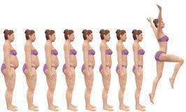 Grasso da adattarsi prima dopo successo di perdita di peso di dieta Immagine Stock