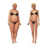 Grasso della donna per assottigliare trasformazione di perdita di peso Fotografie Stock Libere da Diritti