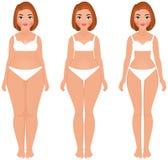 Grasso per dimagrire la parte anteriore di trasformazione di perdita di peso della donna Immagini Stock