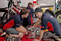 Grasstrack mechanics Royalty Free Stock Photography