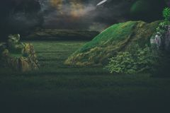 Grassy alien world. A look at an alien world and dramatic landscape royalty free stock image