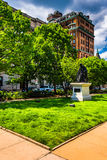 Grassy area and buildings in Mount Vernon, Baltimore, Maryland. Stock Photography