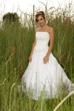Grassy Bride. A bride standing in a field of grass Royalty Free Stock Images