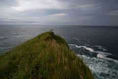Grassy cliff above the sea. Stock Photos