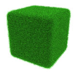 Grassy cube object Royalty Free Stock Images