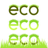 Grassy ecological emblem isolated in white Stock Images