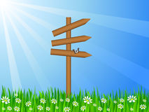 Grassy field and sign post Royalty Free Stock Photos