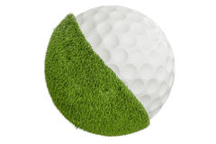 Grassy golf ball concept, 3D rendering Royalty Free Stock Photo