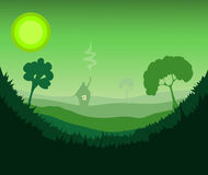 Grassy Green Environment with some Trees. Grassy Green Environment with some Trees and a House in the far Distance, Vector Illustration Stock Photos