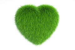 Grassy Heart, 3D rendering Royalty Free Stock Photos
